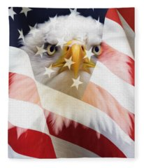 American Flag And Bald Eagle Montage Fleece Blanket