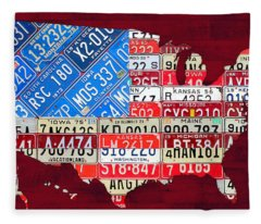 American Flag Map Of The United States In Vintage License Plates Fleece Blanket