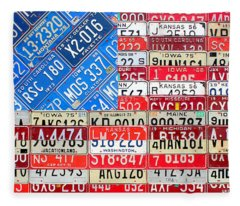 American Flag Recycled License Plate Art Fleece Blanket