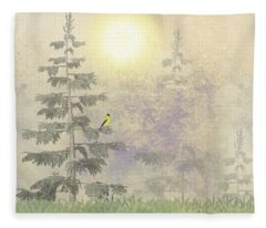 American Goldfinch Morning Mist  Fleece Blanket