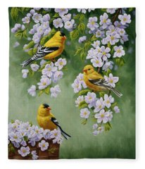 American Goldfinches And Apple Blossoms Fleece Blanket