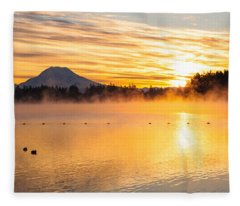 American Lake Misty Sunrise Fleece Blanket