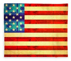 American Money Flag Fleece Blanket