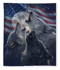 Wolf Trinity America Fleece Blanket
