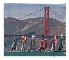Americas Cup Catamarans At The Golden Gate Fleece Blanket
