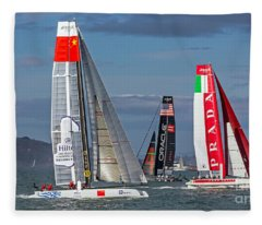 Americas Cup Catamarans On The Bay Fleece Blanket