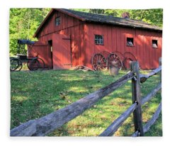 Amish Barn Along A Fenceline Fleece Blanket