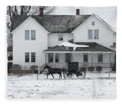 Amish Buggy And Amish House Fleece Blanket