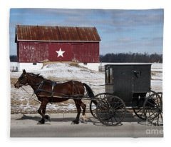 Amish Buggy And The Star Barn Fleece Blanket