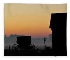 Amish Buggy Before Dawn Fleece Blanket