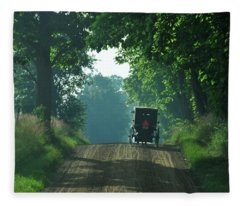 Amish  Buggy Gravel Road Fleece Blanket