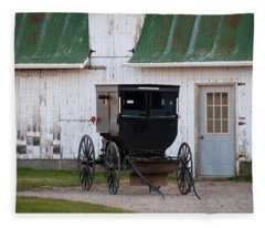 Amish Buggy White Barn Fleece Blanket