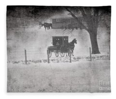 Amish Buggy Winter January 2014 Fleece Blanket