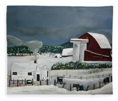 Amish Farm - Winter - Michigan Fleece Blanket