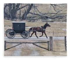 Amish Horse And Buggy March 2013 Fleece Blanket