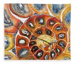 Ammonite Fossil Shell Fleece Blanket