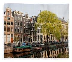 Amsterdam Houses Along The Singel Canal Fleece Blanket