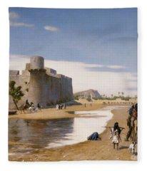 An Arab Caravan Outside A Fortified Town Fleece Blanket