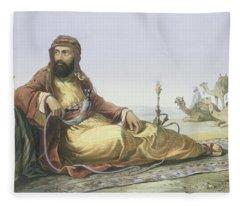 An Arab Resting In The Desert, Title Fleece Blanket