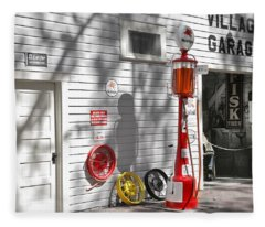 An Old Village Gas Station Fleece Blanket