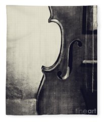 An Old Violin In Black And White Fleece Blanket
