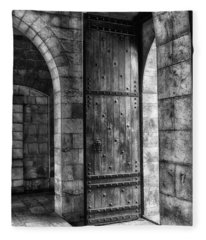 An Open Door  Bw Fleece Blanket