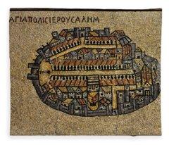 Ancient Jerusalem Mosaic Map Color Framed Fleece Blanket
