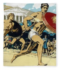 Ancient Olympic Games  The Relay Race Fleece Blanket