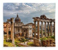 Ancient Roman Forum Ruins - Impressions Of Rome Fleece Blanket