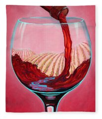 Fleece Blanket featuring the painting ...and Let There Be Wine by Sandi Whetzel