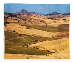 Andalusian Patchwork Fields I. Spain Fleece Blanket
