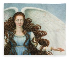Angel In A Blue Dress Fleece Blanket