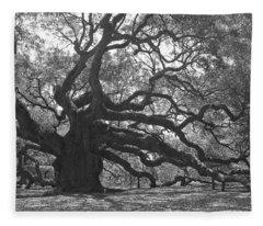 Angel Oak II - Black And White Fleece Blanket