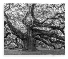 Angel Oak Tree Fleece Blanket