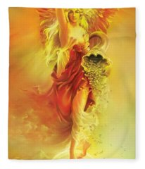 Angel Of Abundance - Fortuna Fleece Blanket