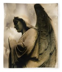 Angel Wings Praying - Spiritual Angel In Clouds Fleece Blanket