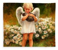 Angel With Cat Fleece Blanket