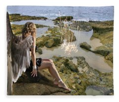 Angels- His Spirit Will Comfort You Fleece Blanket