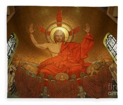 Angry God Mosaic At The Shrine Of The Immaculate Conception In Washington Dc Fleece Blanket