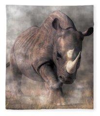 Angry Rhino Fleece Blanket