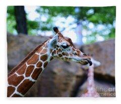 Animal - Giraffe - Sticking Out The Tounge Fleece Blanket