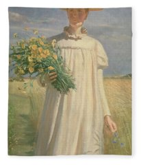 Anna Ancher Returning From Flower Picking, 1902 Fleece Blanket
