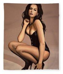 Anne Hathaway Painting Fleece Blanket