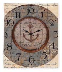 Antique Clock Anchor Vintage Wallpaper Fleece Blanket