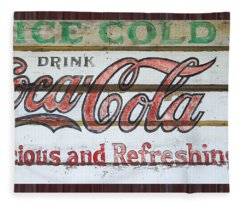 Antique Coca Cola Sign  Fleece Blanket