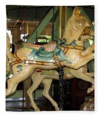Antique Dentzel Menagerie Carousel Cat Fleece Blanket