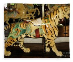 Antique Dentzel Menagerie Carousel Tiger Fleece Blanket