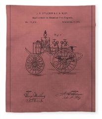 Antique Fire Engine Patent On Red Fleece Blanket