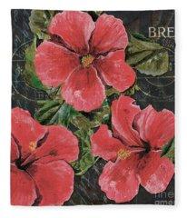 Antique Hibiscus Black 3 Fleece Blanket