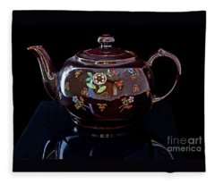 Antique Native American Teapot On Black Art Prints Fleece Blanket